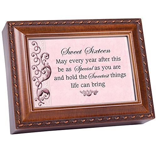 (Cottage Garden Sweet Sixteen Every Year Special Woodgrain Rope Trim Jewelry Music Box Plays You are My Sunshine)