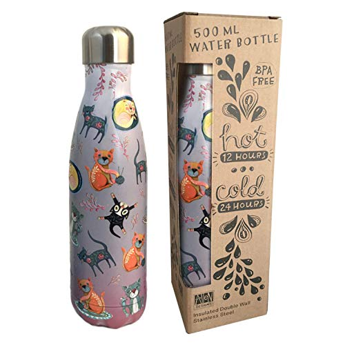 Allen Designs Cat Stainless Steel Water Bottle AB53 16.9 Ounces 10.25 Inches x 2.75 Inches