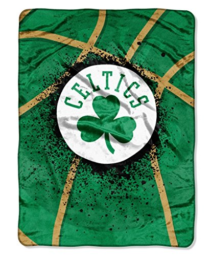 Officially Licensed NBA Boston Celtics Shadow Play Plush Raschel Throw Blanket, 60 x 80 , Multi Color