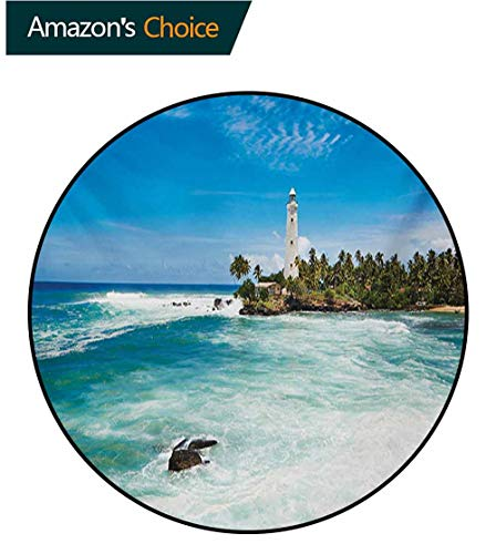 (RUGSMAT Lighthouse Round Area Rugs Bedroom,Tropical Island Lighthouse with Palm Trees Rocks Wavy Seaside Beach Ocean Lifts Basket Swivel Chair Pad Coffee Table Rug,Round-35 Inch Blue White Green)