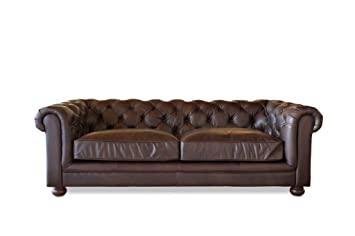 Sofá Vintage Chesterfield Oscuro - Madera Maciza, Cuero de ...