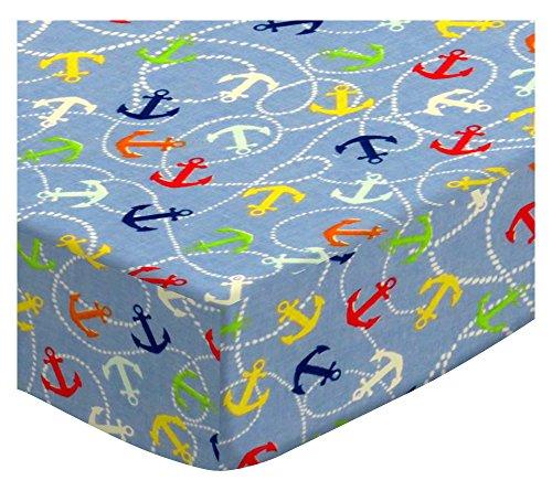 SheetWorld Fitted Portable Mini Crib Sheet - Nautical Blue - Made In USA by SHEETWORLD.COM