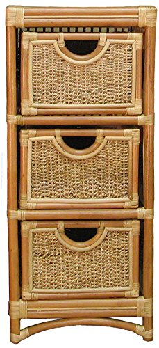 Spice Islands 3 Drawer Unit, - 3 Rattan Drawer Chest