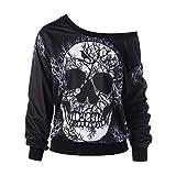 CUCUHAM Women's Long Sleeve Skew Neck Skull Print Halloween Sweatshirt Blouse Top Shirt