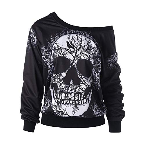 Rambling New Women's Long Sleeve Skew Neck Skull Print Halloween Sweatshirt Blouse Top Shirt