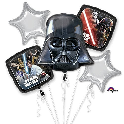 Star Wars Classic Bouquet Of Balloons, Darth Vader, includes 5 (Star Wars Foil Balloon)