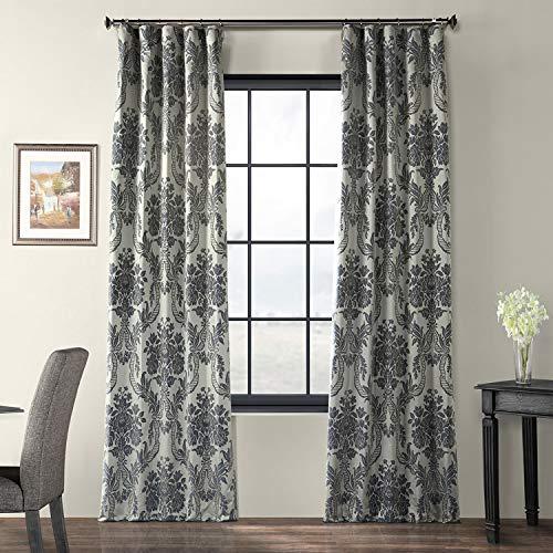 Half Price Drapes JQCH-2012206-108 Magdelena Faux Silk Jacquard Curtain, 50 x 108, Silver & Blue