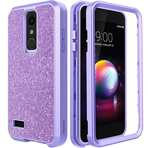 AMENQ Case for LG K30 X410/LG Premier Pro LTE L413D/LG Phoenix PlusL/LG Xpression Plus/LG Harmony 2,Glitter Sparkle Bling Design with Shockproof Premium TPU Armor and Rugged PC Back Cover (Purple)