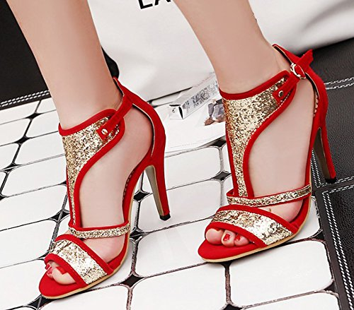 Aisun Womens Sequined Open Toe Buckled T Strap Stiletto High Heels Sexy Ankle Wrap Sandals Red c6o5qPHM
