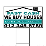 we buy houses - Fast Cash We Buy Houses Save Your Credit Phone Custom Plastic Yard Sign Two Sides Print 18 x 24