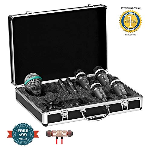 AKG Drum Set Concert 1 Professional Drum Microphone Set (1 x D112 MkII, 2 x C430, 4 x D40) Includes Free Wireless Earbuds - Stereo Bluetooth in-Ear and 1 Year Everything Music Extended Warranty