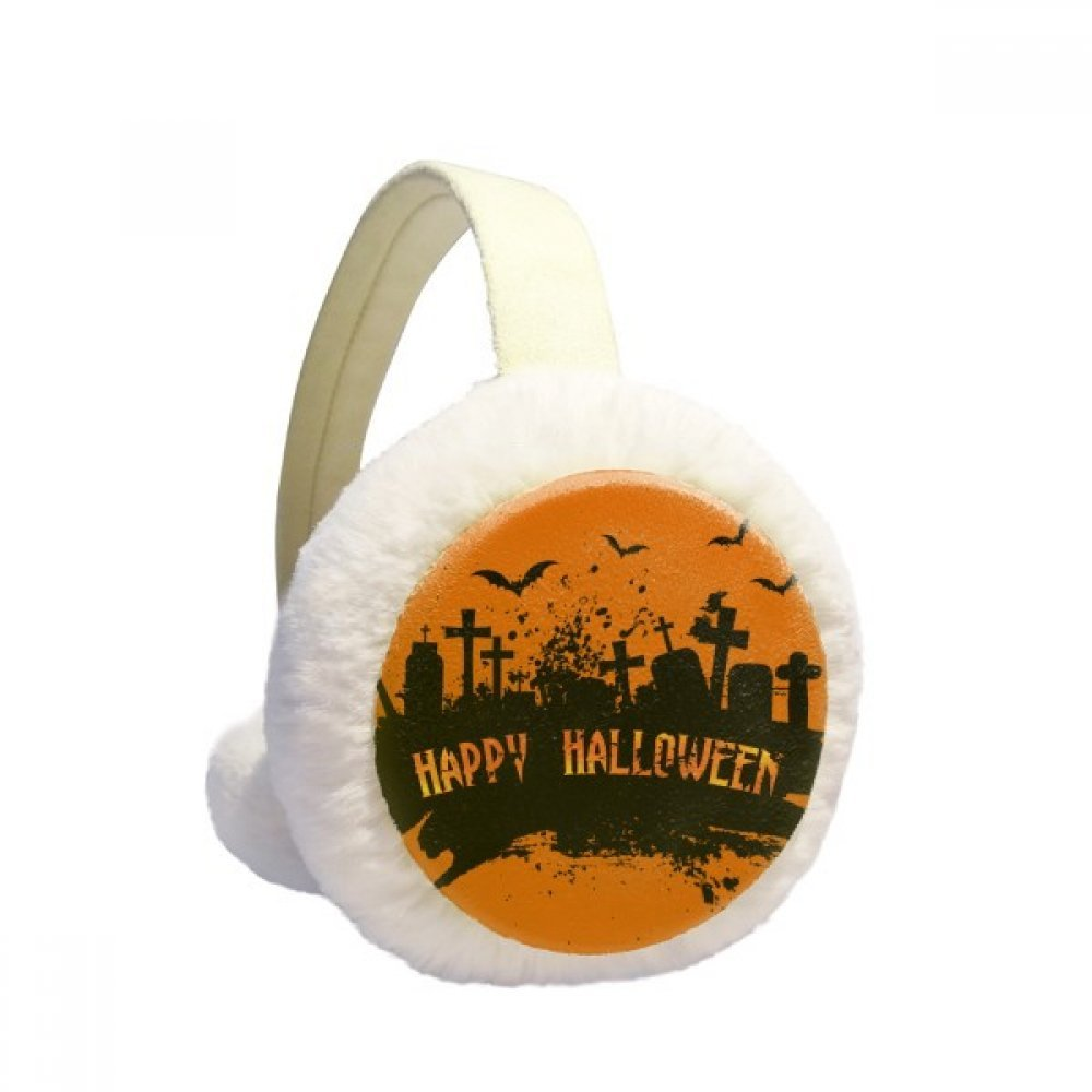 Horror Night Cemetery Halloween Winter Earmuffs Ear Warmers Faux Fur Foldable Plush Outdoor Gift