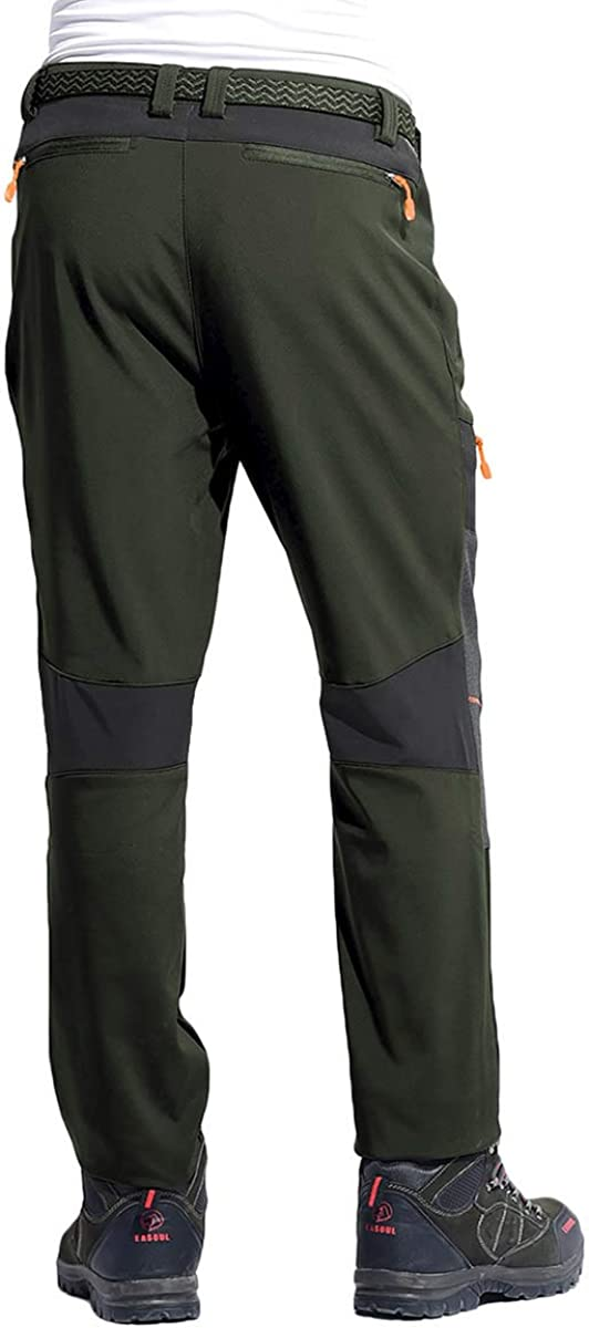 BIYLACLESEN Mens Winter Outdoor Fleece Lined Softshell Pants Hiking Camping Ski Snowboard Pants 5 Zipper Pockets