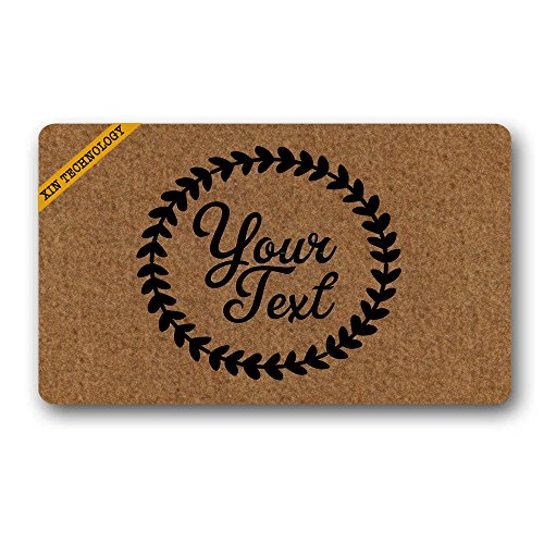 (Artsbaba Personalized Monogrammed Doormat Leaf Ring Your Text Non-Slip Doormat Non-Woven Fabric Floor Mat Indoor Entrance Rug Decor Mat 30