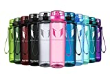 Super Sparrow Sports Water Bottle - Eco Friendly & BPA-Free Plastic - Fast Water Flow, Flip Top, Opens with 1-Click - Reusable with Leak-Proof Lid (Bright-Pink, 350ml-12oz)