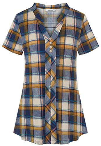 Helloacc Swing Shirts for Women,Checked Dress Blouse Wedding Cuffed Sleeve Ruffled Front Shimmer Tops for Party Dating Romantic Notch Neck Texture Knitted Loosely Tunics Lounging Cloth Blue Yellow 2X