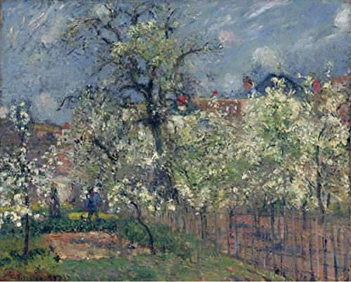 Berkin Arts Camille Pissarro Giclee Canvas Print Paintings Poster Reproduction(The Garden of Maubuisson Pontoise. Pear Trees in Bloom) #XFB