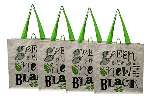 Earthwise Large Earth Day Reusable Grocery Shopping Tote Bag featuring Green is the New Black Print (Pack of - 2006 New Strap