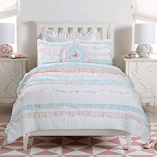 Cozy Line Home Fashions Emma 3-Piece Pink Blue White Lace Striped Ruffle Quilt Bedding Set, Includes 1 Twin Quilt + 1 Standard Shams + 1 Decor Pillow (Pink/Blue, Twin – 3 Piece)