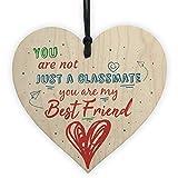 XLD Store Wood Heart Plaque Gift For Classmate Teacher School Friendship Thank You Gift End Of Term Present