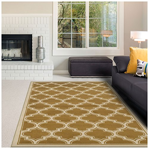 Cheap Superior Bohemian Trellis Collection Area Rug, 10mm Pile Height with Jute Backing, Chic Geometric Trellis Pattern, Fashionable and Affordable Woven Rugs – Apricot, 5′ x 8′ Rug