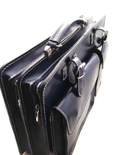 CTM Aktentasche Schultertasche Orange Tür Dokumente Männer, 38x29x11cm, 100% echtes Leder Made in Italy Blau
