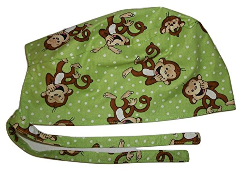 Scrub Hat Monkey Cartoon Character Fabric Nurse Cap Doctor Do-Rag ER Skull