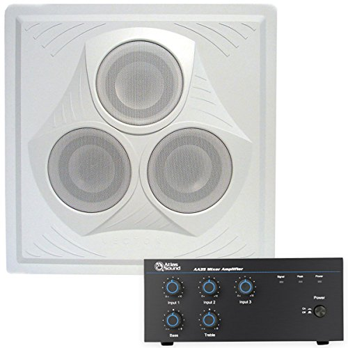 Classroom Sound System 35 Watt 3 Channel Mixer Amplifier, Vector Ceiling Speaker and Speaker Wire