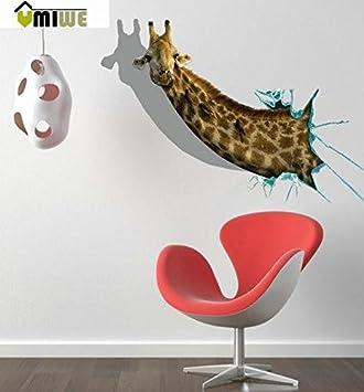 Umiwe Tm 3d Wandtattoo Giraffe Art Skulptur Innen Resuable Pvc