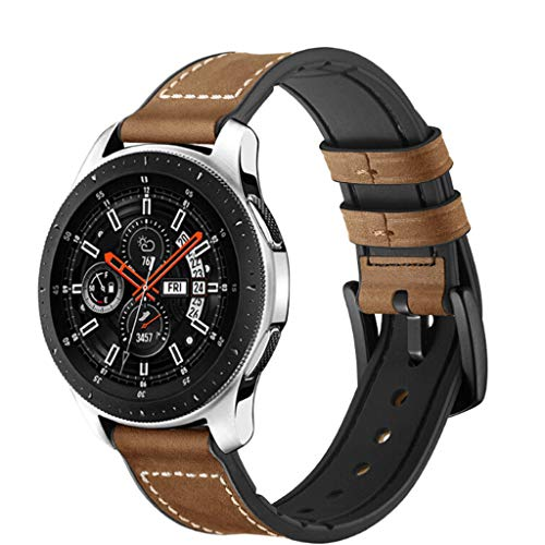 for Samsung Galaxy Watch Leather Strap - Silicon+Leather Adjustable Replacement Band Sport Strap for Samsung Galaxy Watch 46mm,22mm (Brown)