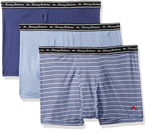 Tommy Bahama Men's Breathe Easy 3 Pack Boxer Brief-Multi Blue Stripe, Stripe, Blue Heather, Deep Cobalt, L