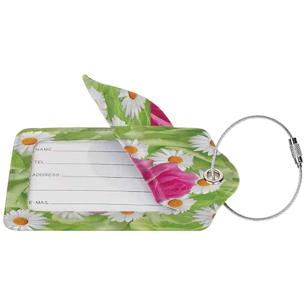 Soft luggage tag Roses Decorations Collection Mixture of Rose and Daisies with Warm Colors Purity Icons in Habitat Modern Bendable Green Pink White W2.7 x L4.6
