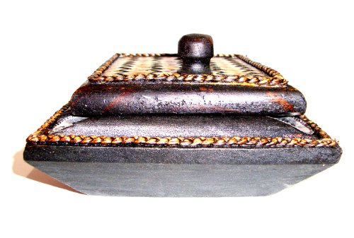Ashtray Thai Carved Handicraft Square Mango Wood with Elephant Silver Plated and Covered By Bamboo with Lid Wooden Ashtray by touchable dream