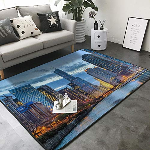 FANTASY SPACE USA Chicago Skyline Night View Kitchen Rugs Memory Foam Floor Pad Rugs with Non Skid Rubber Backing, Fast Dry Bathroom Rug Mat Standing Mat Home Art Comfortable Standing Mat (Hot Dog Stand In Chicago Tv Show)
