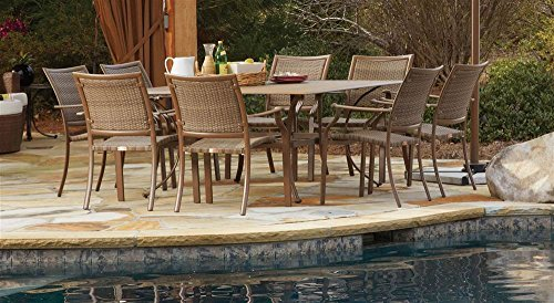Panama Jack Outdoor 9-Piece Island Cove Slatted Dining Group Set