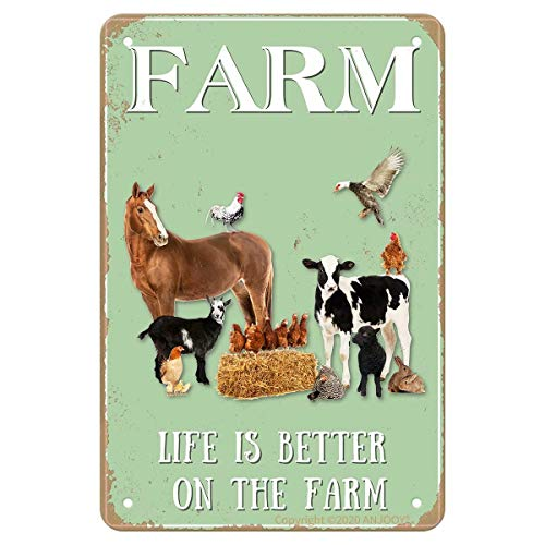 Vintage Metal Tin Signs – Farm Sweet Farm Life is Better on The Farm – Aluminum Sign for Cafe Home Bar Pub Garage Hotel…
