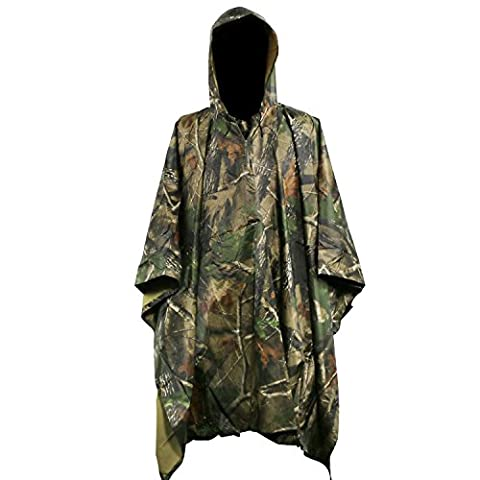 Rain Poncho 3 In 1 Multifunctional Waterproof Rainwear Ripstop Hooded Raincoat with Carry Bag (Maple (Willie Nelson Patch)