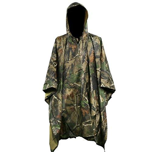 Tongshop Rain Poncho Rip Stop Poncho Waterproof Nylon PVC Raincoat Wet Weather Poncho, Multifunctional Outdoor as a Shelter Tent Ground Sheet Rain Poncho (Maple Leaf Camouflage)