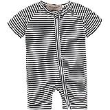 BIG ELEPHANT Baby Boys'1 Piece Stripe Zipper Closure Short Sleeve Romper Pajama Style A L14-70 6-9 Months