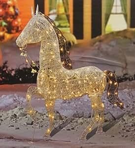 "Amazon.com : 60"" Elegant Glittered Prancing Horse Lighted ..."