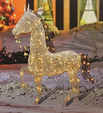 60 elegant glittered prancing horse lighted christmas yard art decoration - Christmas Horse Yard Decorations