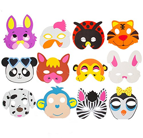 9Snail 12PCS Assorted EVA Foam Animal Masks for Kids Birthday Party Favors Dress Up Costume Zoo Jungle Party