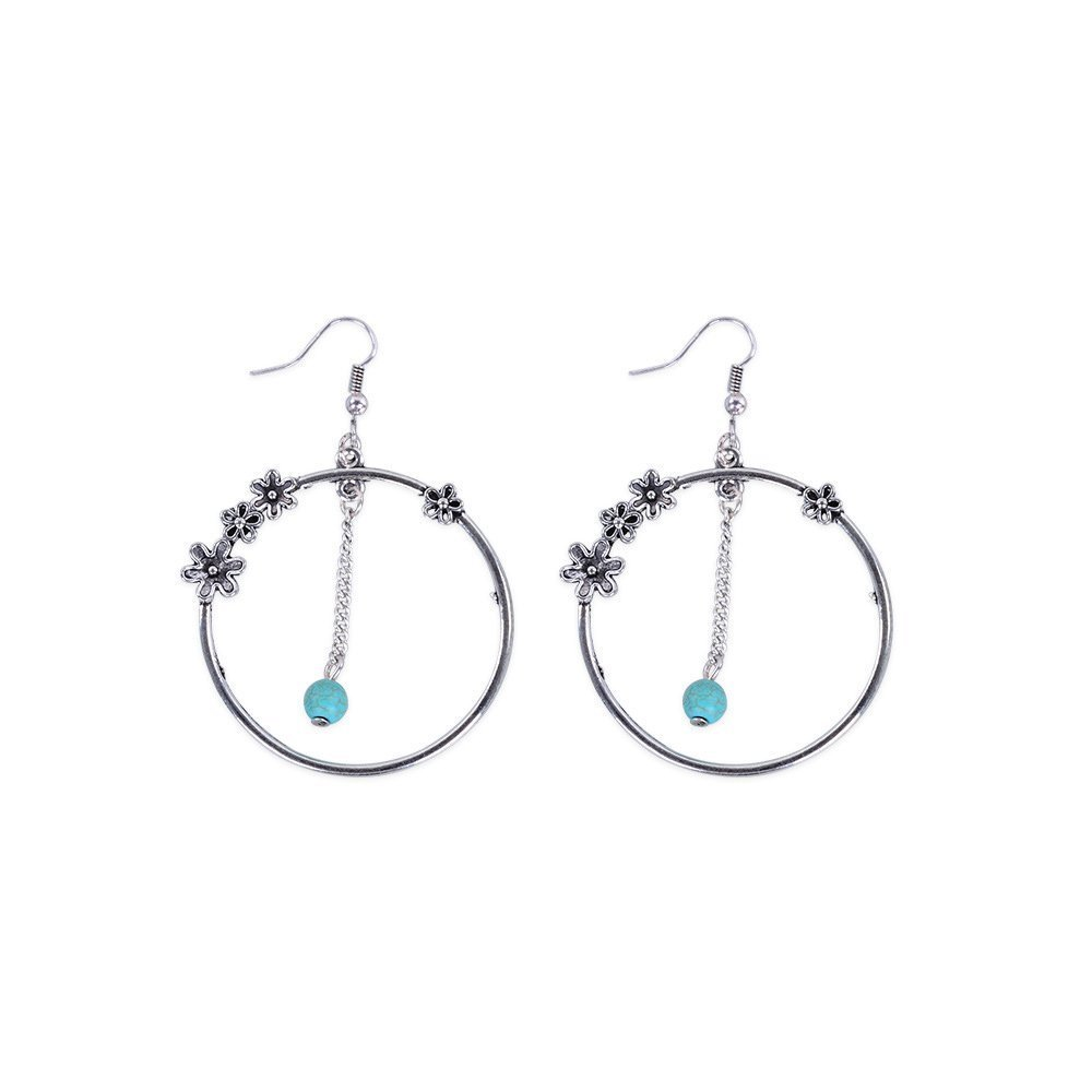 WLLAY Retro Large Circle Hoop Creative Flowers Earring Blue Turquoise Ball Ear Accessories