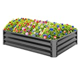 Best Choice Products 47x35.25x11in Outdoor Metal Raised Garden Bed Box, Backyard Lawn Vegetable Planter for Growing Fresh Veggies, Flowers, Herbs, Succulents - Dark Gray