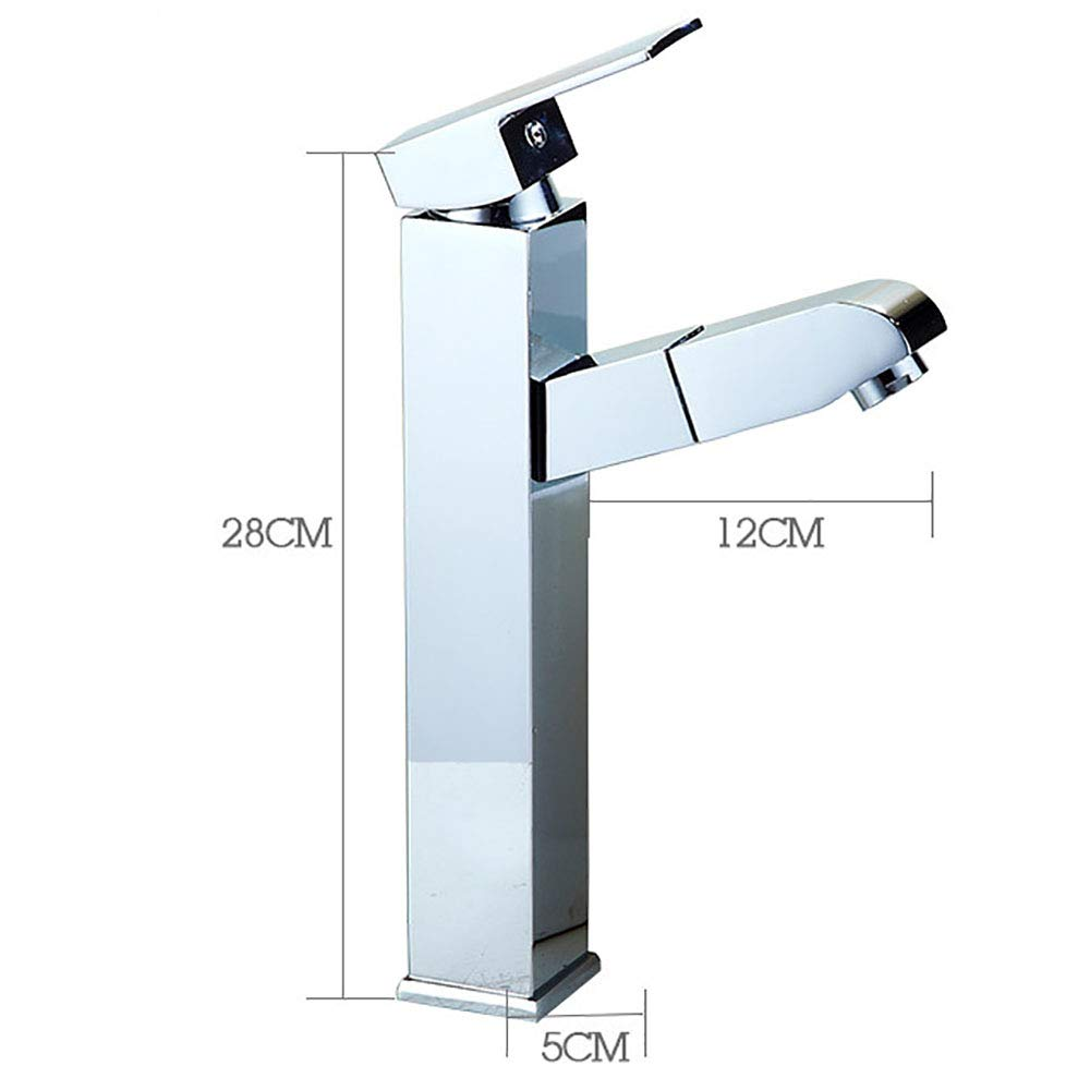 Silver(c) Tapfaucetwater tap,faucet water tap,Telescopic pull-out faucet copper bathroom hotel bathroom washbasin mixing hot and cold water,Silver(C)