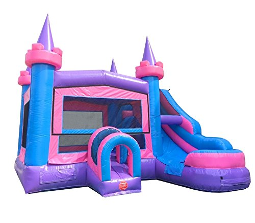 Princess Castle Bounce House - TentandTable Pink Wet or Dry Modular Bounce House with Tunnel Front, Slide, and Climbing Wall Combo, Commercial Grade Inflatable, Blower Included