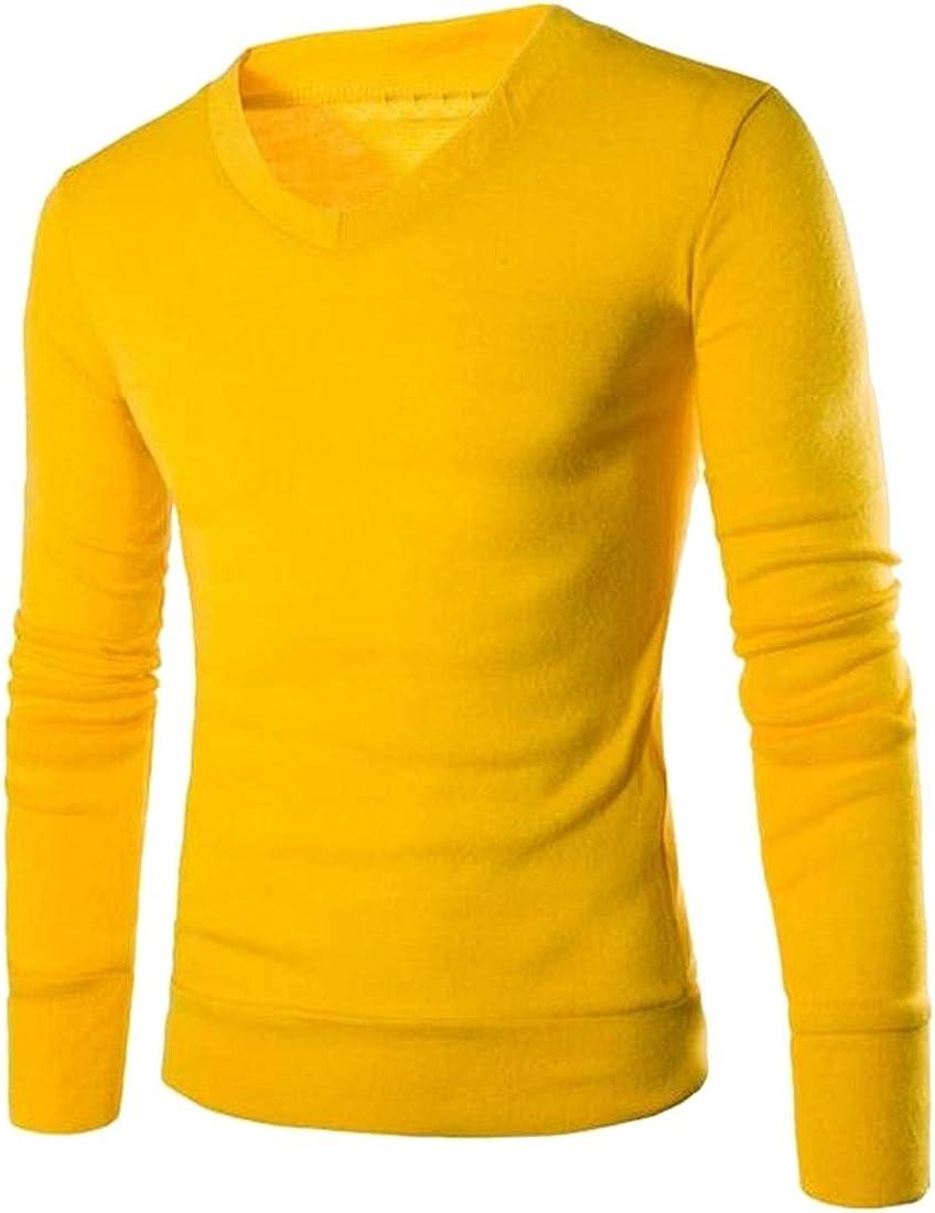 Fensajomon Men Knit V-Neck Slim Solid Color Fall /& Winter Pullover Sweater Jumper Yellow XS