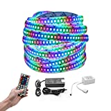 LED Strip Light 234leds/m Super Bright Multi-Color 16.4FT LED Flexible Light Strip Kit Waterproof with 44-Key Remote Control and 12V 6A Power Supply for Outdoor Home Decoration