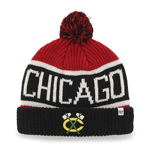 '47 NHL Chicago Blackhawks Embroidered Jacquard Cuff Knit Hat with Pom