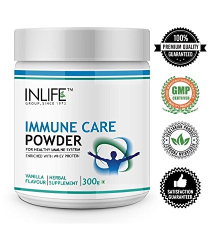 INLIFE Immune Care/Booster Protein Powder, Whey Protein with Ayurvedic Herbs, Turmeric (Curcumin), Guduchi, Tulasi, Colostrum - 300 g (Vanilla Flavour)